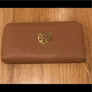 Tory Burch Zip-Around Tan Wallet